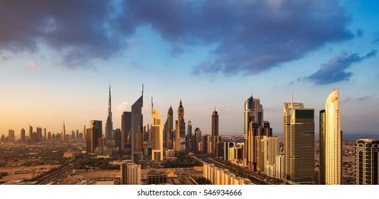 DUBAI, UAE - NOV 28: A skyline view of the buildings of Sheikh Zayed Road and DIFC on Nov 28, 2015 in Dubai, UAE. DIFC stands for Dubai International Financial Centre, an on-shore financial hub
