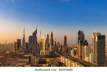DUBAI, UAE - NOV 28: A skyline view of the buildings of Sheikh Zayed Road and DIFC on Nov 28, 2015 in Dubai, UAE. DIFC stands for Dubai International Financial Centre, an on-shore financial hub