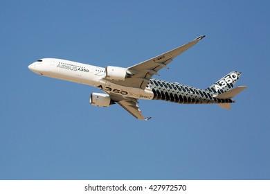 Dubai, UAE - NOVEMBER 08, 2015: Airbus A350-900 participating in Dubai Airshow 2015. Airbus A350 XWB.