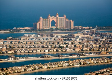 DUBAI, UAE - NOVEMBER 08, 2016: Dubai Palm Jumeirah. Atlantis the Palm hotel. Dubai iconic hotel. Biggest artificial island in the world.