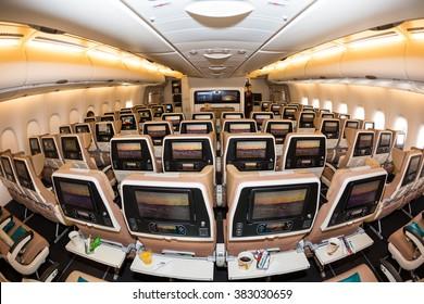Dubai, UAE - NOVEMBER 09, 2015: Etihad Airways Airbus A380 economy class seats. Airbus A380 economy class cabin. Etihad Airways E-BOX inflight entertainment system on November 09, 2015 in Dubai