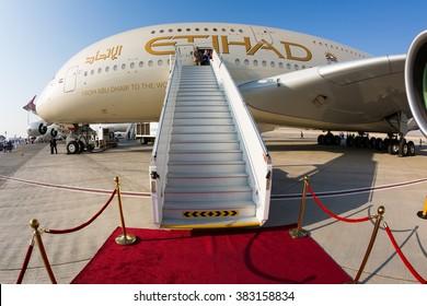 Dubai, UAE - NOVEMBER 09, 2015: Etihad Airways Airbus A380 aircraft. Largest passenger aircraft. Biggest airplane. Airbus A380.