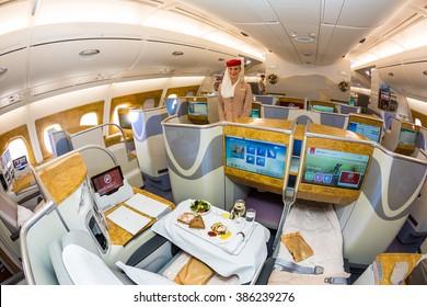 Dubai, UAE - NOVEMBER 09, 2015: Emirates Airbus A380 business class. Emirates airline on board dining. Emirates onboard amenities. Emirates two class Airbus A380 on November 09, 2015 in Dubai