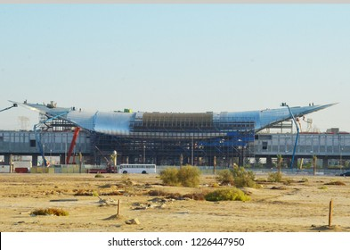 Dubai, UAE - November 09, 2018: Dubai Metro line RTA station construction which extends to Al Maktoum Airport and EXPO 2020 site