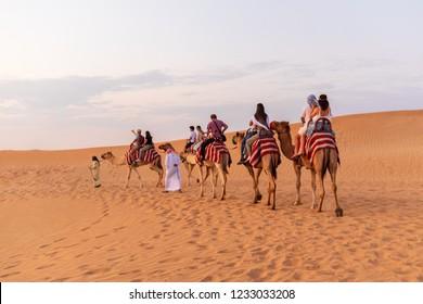 DUBAI, UAE - November 09, 2018: Camel caravan with tourists going through sand dunes in Dubai desert.