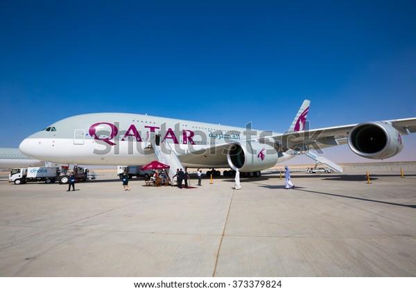 Dubai, UAE - NOVEMBER 10, 2015: Qatar Airways Airbus A380. Largest passenger aircraft. Biggest passenger airplane. Airbus A380.