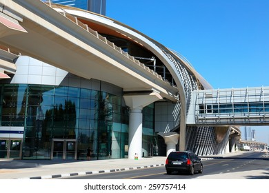 DUBAI, UAE - NOVEMBER 11, 2013: Metro subway station. Dubai Metro as world's longest fully automated metro network  75 km