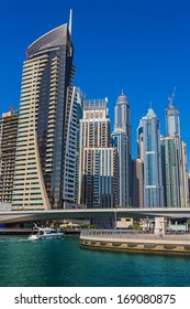 DUBAI, UAE - NOVEMBER 11: High rise buildings and streets nov 11. 2013  in Dubai, UAE. Dubai was the fastest developing city in the world between 2002 and 2008.
