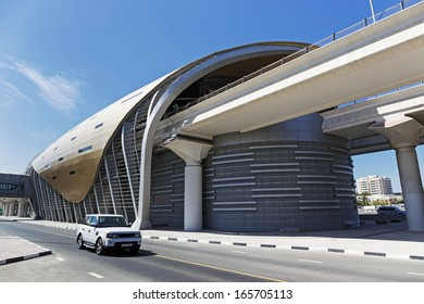 DUBAI, UAE - NOVEMBER 11: Dubai Metro as world's longest fully automated metro network (75 km) on November 11, 2013, Dubai, UAE.