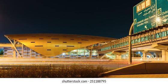 DUBAI, UAE - NOVEMBER 11: Metro subway station at night. Dubai Metro as world's longest fully automated metro network (75 km) on November 11, 2013, Dubai, UAE.