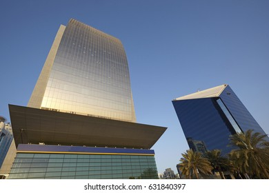 DUBAI, UAE - NOVEMBER 11TH 2015; Looking up at the Emirates bank and National Bank of Dubai and shoreline of Dubai Creek