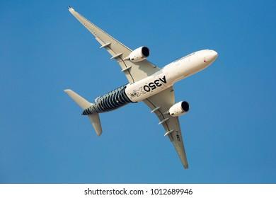 Dubai, UAE - NOVEMBER 12, 2017: Airbus A350 flight.