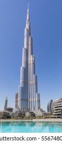DUBAI, UAE - November 13, 2016: A Vertical Panoramic View of the Burj Khalifa tower, the tallest structure in the world, on November 13, 2016 in Dubai, UAE