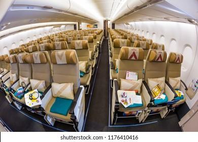 Dubai, UAE - NOVEMBER 13, 2017: Etihad Airways economy class seats. Airbus A380. Travelling with Etihad Airways.
