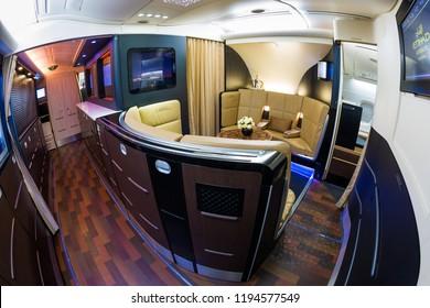 Dubai, UAE - NOVEMBER 13, 2017: Etihad Airbus A380 bar The Lobby. First class, business class lobby. Etihad luxury travel. Airbus A380 bar. Business class travel. Business lounge.