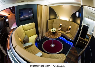 Dubai, UAE - NOVEMBER 13, 2017: Etihad Airbus A380 bar The Lobby. First class, business class lobby. Etihad luxury travel. Airbus A380 bar. Business class travel.