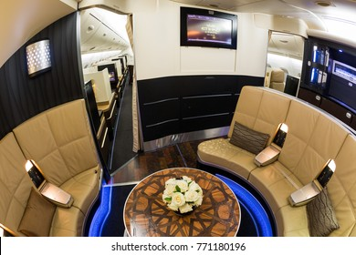 Dubai, UAE - NOVEMBER 13, 2017: Etihad Airways business class, first class lounge The Lobby. Airbus A380. Etihad luxury travel.