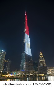 Dubai, UAE - November 13, 2019: Burj Khalifa facade on November 13, 2019 in Dubai, UAE. Burj Khalifa is a tallest building in the world, at 828m. Located on Downtown Dubai, Sheikh Zayed Road.