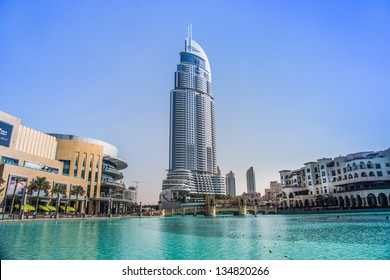 DUBAI, UAE - NOVEMBER 13: Address Hotel and Lake Burj Dubai in Dubai. The hotel is 63 stories high and feature 196 lavish rooms and 626 serviced residences, taken on 13 November 2012 in Dubai.