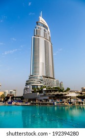 DUBAI, UAE - NOVEMBER 13: Address Hotel and Lake Burj Dubai in Dubai. The hotel is 63 stories high and feature 196 lavish rooms and 626 serviced residences on 13 November 2012 in Dubai.