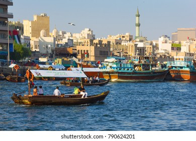 DUBAI, UAE - NOVEMBER 13: Boats on the Bay Creek in Dubai, UAE nov 13 2012. Dubai was the fastest developing city in the world between 2002 and 2008.