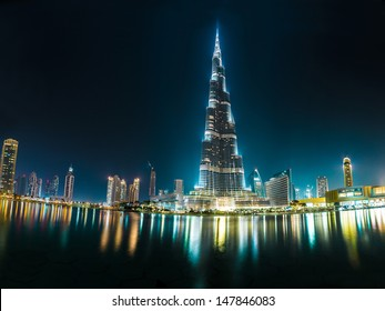DUBAI, UAE - NOVEMBER 13: Burj Khalifa on November 13, 2012 in Dubai, UAE. Burj Khalifa is currently the tallest building in the world, at 829.84 m (2,723 ft).