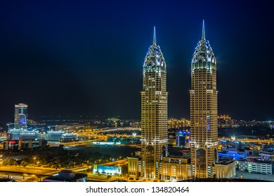 DUBAI, UAE - NOVEMBER 13: Modern skyscrapers in Dubai (emirate and city). Dubai now boasts more completed skyscrapers higher than 0,8 - 0,25 km than any other city, taken on 13 November 2012 in Dubai