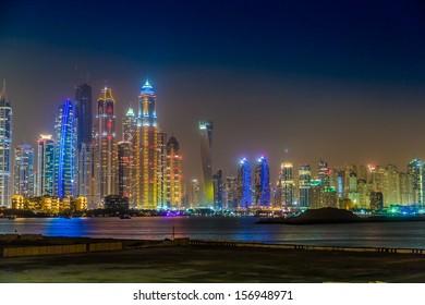 DUBAI, UAE - NOVEMBER 13: Modern buildings in Dubai Marina, Dubai, UAE. In the city of artificial channel length of 3 kilometers along the Persian Gulf, taken on 13 November 2012 in Dubai.