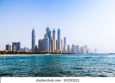 DUBAI, UAE - NOVEMBER 13: Modern buildings in Dubai Marina, Dubai, UAE. In the city of artificial channel length of 3 kilometers along the Persian Gulf, taken on 13 November 2013 in Dubai.