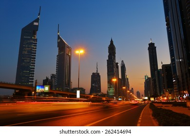 DUBAI, UAE - NOVEMBER 14, 2013: General view of Dubai at night. Dubai was the fastest developing city in the world between 2002 and 2008.