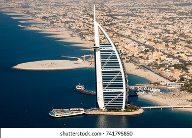 DUBAI, UAE - NOVEMBER 14, 2016: Dubai skyline. Iconic Burj Al Arab 7 star hotel. Dubai luxury hotel. Burj Al Arab Terrace. Luxury leisure. Symbol of Dubai.