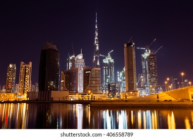 DUBAI, UAE - NOVEMBER 14: Burj Khalifa the tallest building in the world. Dubai Downtown skyline. Dubai night lights. Dubai skyscrapers. Dubai construction on November 14, 2015 in Dubai