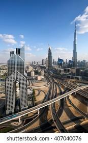 DUBAI, UAE - NOVEMBER 14: Burj Khalifa tallest building in the world. Dubai Downtown skyline. Dusit Thani. Dubai iconic view. Dubai skyscrapers. Dubai construction on November 14, 2015 in Dubai