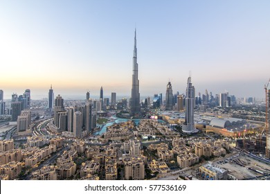 DUBAI, UAE - NOVEMBER 14: Burj Khalifa the tallest building in the world. Dubai Downtown cityscape. Dubai evening skyline, busy roads, sunset on November 14, 2016 in Dubai