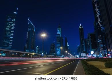 DUBAI, UAE - NOVEMBER 14: General view of Dubai at night, on November 14, 2013, Dubai, UAE. Dubai was the fastest developing city in the world between 2002 and 2008.