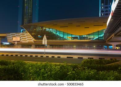 DUBAI, UAE - NOVEMBER 14: Dubai Metro as world's longest fully automated metro network (75 km) on November 14, 2013, Dubai, UAE.