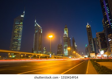 DUBAI, UAE - NOVEMBER 14: Modern skyscrapers, Sheikh zayed roads on November 14, 2013 in Dubai, United Arab Emirates. Dubai is the fastest growing city in the world.