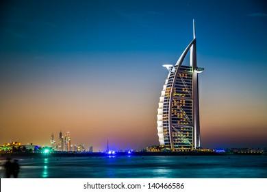 DUBAI, UAE - NOVEMBER 14 :The world's first seven stars luxury hotel Burj Al Arab, November 14, 2012 in Dubai, United Arab Emirates