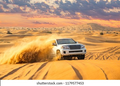 Dubai, UAE - November 15, 2016: View of an off-road vehicle during a desert safari in the Dubai desert.