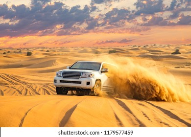 Dubai, UAE - November 15, 2016: View of an off-road vehicle during a desert safari in the Dubai desert.