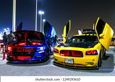 Dubai, UAE - November 15, 2018: Customized motor cars Dodge Charger takes part in the annual Gulf Car Festival.