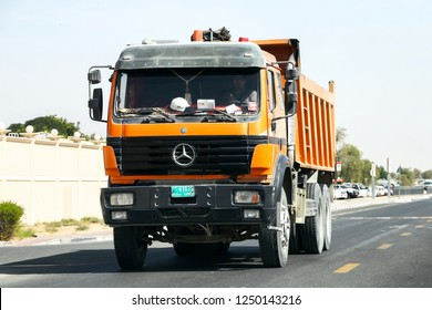 Dubai, UAE - November 15, 2018: Dump truck Mercedes-Benz SK at the interurban road.