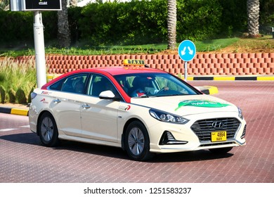 Dubai, UAE - November 15, 2018: Taxi car Hyundai Sonata in the city street.