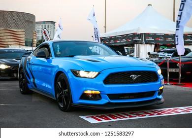Dubai, UAE - November 15, 2018: Muscle car Ford Mustang takes part in the annual Gulf Car Festival.
