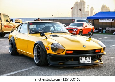 Dubai, UAE - November 15, 2018: Motor car Datsun 280Z takes part in the annual Gulf Car Festival.