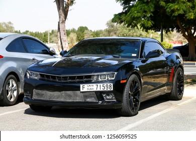 Dubai, UAE - November 15, 2018: Muscle car Chevrolet Camaro in the city street.
