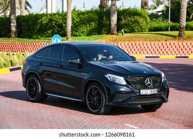 Dubai, UAE - November 15, 2018: Black motor car Mercedes-Benz C292 GLE63 AMG in the city street.