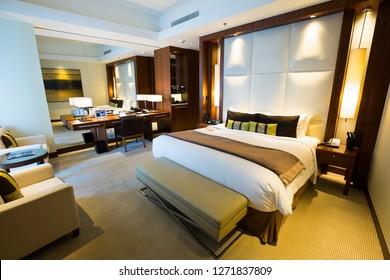DUBAI, UAE - NOVEMBER 15, 2018: Hotel room interior. Hotel apartment, bedroom. Modern room interior. JW Marriott Marquis Dubai.