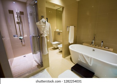 DUBAI, UAE - NOVEMBER 15, 2018:  Bathroom interior. Modern bathroom. Hotel bathroom.