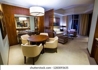 DUBAI, UAE - NOVEMBER 15, 2018:  Living room interior. Modern living room. Hotel room.